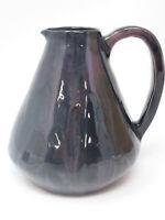 Vintage Handmade Glazed Pottery Purple Black Dark of Night Handled Pitcher