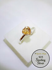 925 Sterling Silver Trillion Solitaire Citrine Stone 7mm   Ring Size 7/N