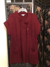 Women's Carducci Burgandy S/S Big Button Pockets Long Cable Cardigan Sweater M