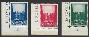 Mr B's Vatican City 1945 #99, 100, 101 MNH OG- Prisoners of War - Free SHIPPING!