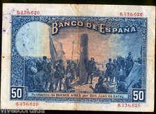 España 50 Pesetas 1927 Alfonso XIII @ Bello @ Sello en seco Republica y resello
