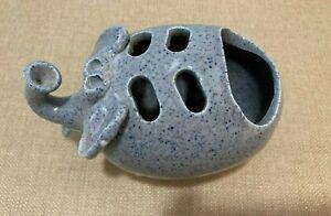 Vintage Ceramic Gray Elephant Toothbrush Holder