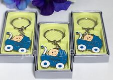12-Baby Shower Carriage Its A Baby Boy Favors Keychains Blue Recuerdos Niño Box