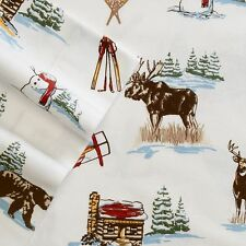 SKI LODGE Queen FLANNEL Sheet Set NEW 4pc Cuddl Duds Winter Cabin Moose Trees