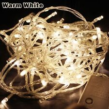 33FT/10M WARM WHITE 100 LED Twinkle Fairy String Party Light 8 Modes Tail Plug