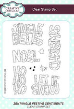 Creative Expressions ZENTANGLE FESTIVE SENTIMENTS A5 Clear Stamp Set