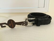 Tommy Bahama Belt Size 40 Black Woven with Silver Metal Buckle NEW $88+