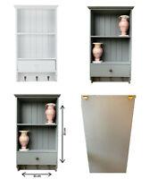 Shabby Chic Wooden Vintage Shelf Unit With Storage Drawer 3 Key Hooks Wall Mount