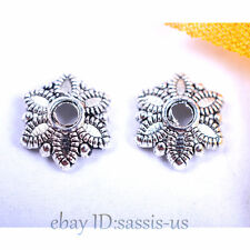 100 pieces 8mm Bead Caps Snow Flower Tibetan Silver DIY Jewelry Charms A7042