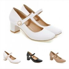 Hot Mary Janes Ladies Ankle Strap Square Toe Block Heels Causal OL Pumps Shoes B