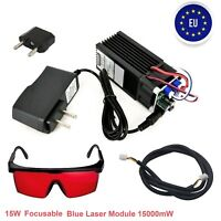 450nm Focusable 15W Blue Laser Module Diode Engraving Cutter TTL PWM + Goggles