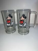 "Vtg 5.5""  2- Collectible Disney MICKEY MOUSE GLASS MUG BEER STEIN 1980"