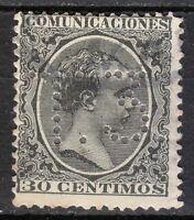 "Spain 1889 used Mi 195 Sc 264 King Alfonso XIII. Perfin "" T.3."" T3 T 3"