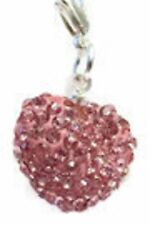 SPARKLY SHAMBALLA PINK CRYSTAL 15mm HEART CLIP ON CHARM - OCTOBER BIRTHSTONE-S/P