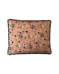 "17""x14 Vintage style Peach Floral Black pompom trim scatter cushion covers sham"