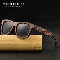 VOBOOM Handmade Natural Bamboo Wood Sunglasses Polarized Mirrored Brown Unisex