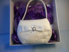 Lillian Rose Ivory Scattered Pearl Satin Flower Girl Basket with Bow wedding