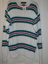 New $165 RALPH LAUREN POLO Pink Green Striped Cable Knit Cotton Sweater~L~$0SHIP