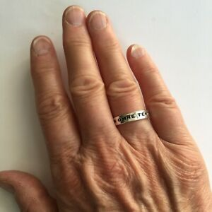 Marc Jacobs Latin inscribed ring 'TIBI. IN OMNE TEMPUS' UK N USA 7 Silver gift
