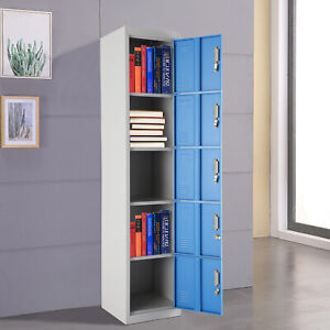 5 Door Work Locker Steel Metal Blue Lockers Storage GYM 180x38x42cm