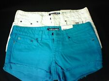 NWT Ecko Red Women's Denim Fold-up Cut-off Shorts Size 1/2 Teal White TWO PAIR