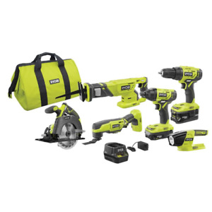 RYOBI Cordless Combo Kit 18-Volt Lithium-Ion Charger/Battery Included (6-Tools)