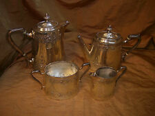 EXQUISITE Antique Smith Rait Silver Plate Tea Service Embossed 4 Pieces