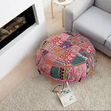 Decorative pink patchwork floor pouf cotton foot stool embroidered cushion 32""