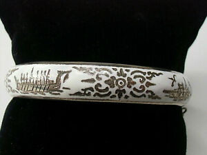 Art Déco Emaille Armreif Sterling Silber aus Siam vor 1939