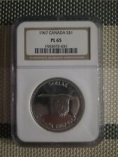 1967 CANADA GOOSE SILVER $1 DOLLAR  NGC PL65 PROOF LIKE COIN IN HIGH GRADE