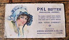 Vintage Adverting Ink Blotter Card Ayrton Saunders Co Pain Killing Liniment PKL