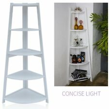 White 137cm 5 Tier Corner Shelving Unit, Home, Bathroom, Storage Solutions NR