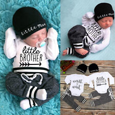 US Newborn Infant Baby Boy Little Brother Long Sleeve Romper Pant Outfit Clothes
