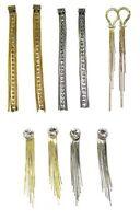 Silver Gold Stud Earrings Long Large Drop Dangle Diamante Crystal Trendy Dress