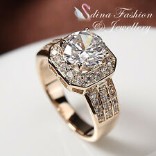18K Rose Gold Plated Simulated Diamond Sunflower Engagement Wedding Ring