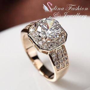 18K Yellow Gold Plated Simulated Diamond Sunflower Engagement Wedding Ring