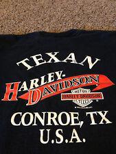 VTG 1992 90's Conroe Texas TX Harley Davidson Shirt Motorcycle USA Texan rare