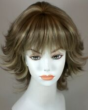 Partial Skin top Mid Lnth Layered Flip Wig w/Full Bangs