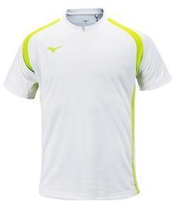Mizuno Men Summer S/S T-Shirts Jersey Training White Lime Top Shirt P2MA8K0501