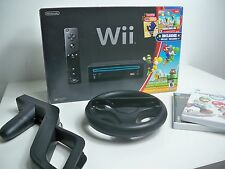 D1078721 NINTENDO WII BLACK SUPER MARIO BROS COMPLETE W/ ACCESSORIES & GAMES