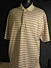 Greg Norman Blue and Red Striped On White All Polyester Golf Shirt XL