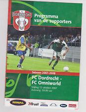 Programme / Programma FC Dordrecht v FC Omniworld 12-10-2007