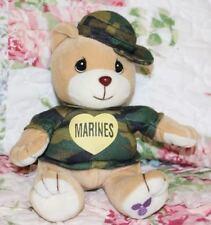 "2000 Precious Moments Tender Tails 7"" Military Marines Bear Bean Plush Camo"