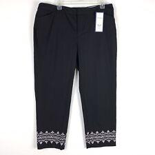 Charter Club Womens Crop Pants Size 16 Black Newport Slim Leg Embroidered 426