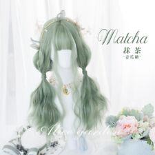 Peluca japonesa Sweet Lolita Harajuku Largo Cabello Lacio postizos Princesa Verde