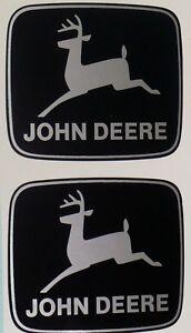 JOHN DEERE 2-1/2 inch wide 2-leg Silver Deer DECALS Tractor Computer Cut J1952