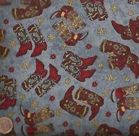 Hold em or Fold em blue western cowboy boots Maywood Studios fabric