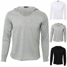Cotton Blend V Neck Fitted Long Sleeve T-Shirts for Men
