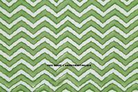 By Yard Indian Voile 100% Cotton Handmade Hand Block Print Chevron Fabric Green