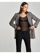 Zara Woman Outer-shell T Shirt Semitransparent Top Black Size Medium